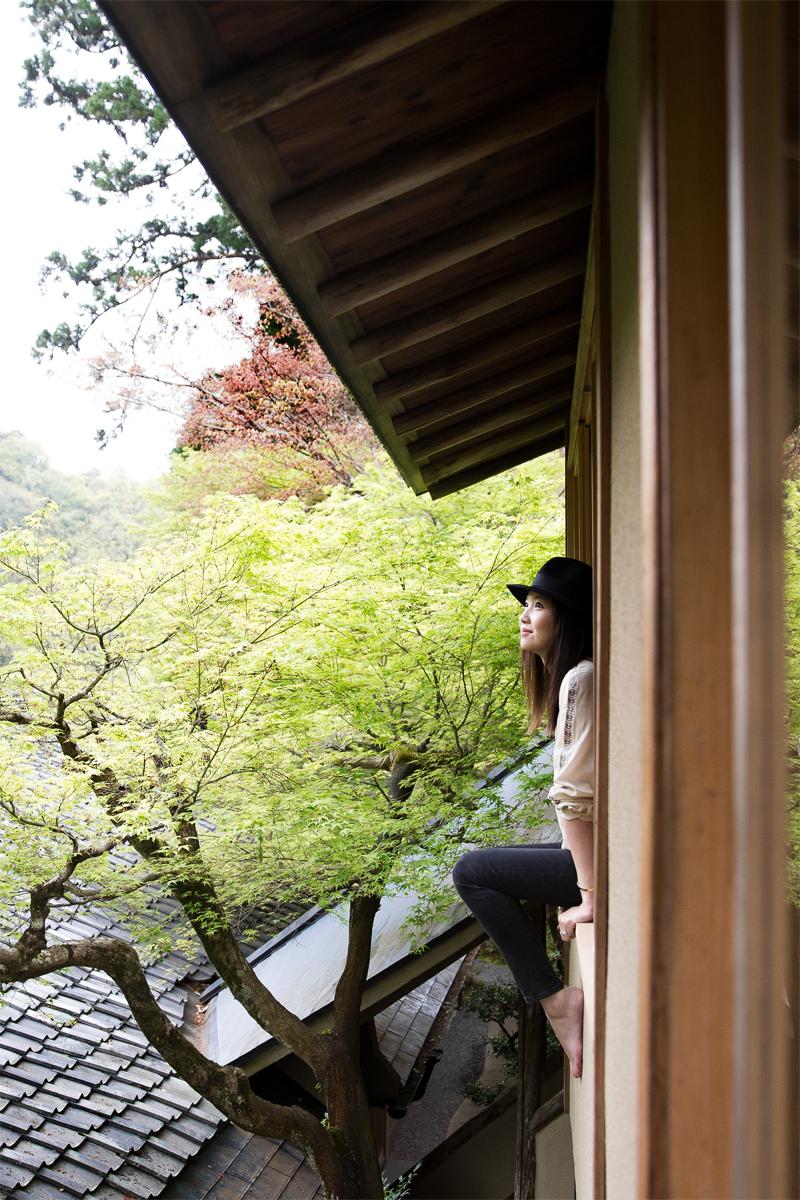 Hoshinoya, Kyoto wearing:  Borsalino Fedora  | Isabel Marant blouse |  Acne Studios Jeans  |