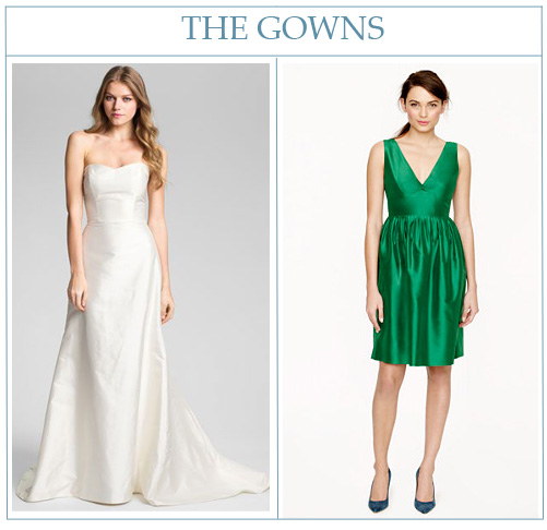 Caroline DeVillo gown from Nordstrom  and  Hope dress from J. Crew