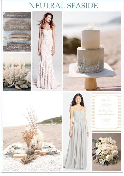 Image credits:  Driftwood escort cards ,  coral reef candles ,  Anne Barge wedding gown from Nordstrom ,  beach wedding cake ,  beach tablescape ,  Jenny Yoo bridesmaid dress from Nordstrom ,  invitation from Wedding Paper Divas ,  ranunculus bouquet .