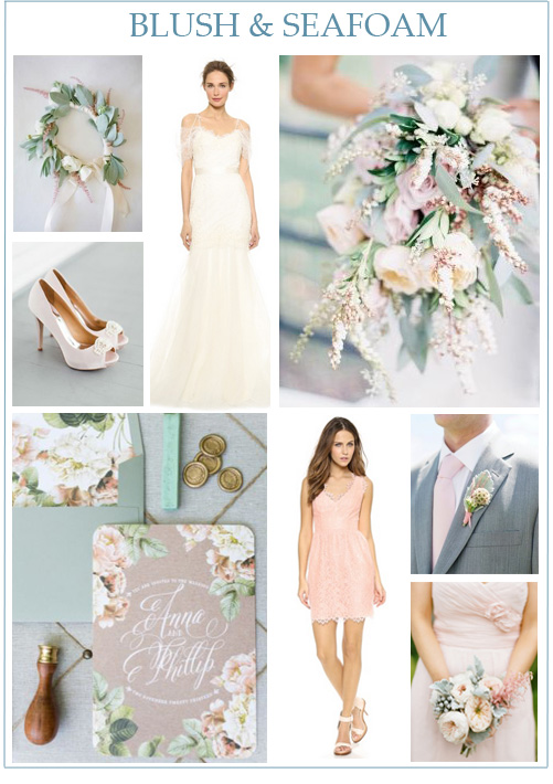 Image credits:  Floral crown from Beauty in the Making  by  KT Merry ,  blush Badgley Mischka pumps  from  Brooke Images ,  Marchesa wedding gown ,  blush and ivory bouquet by Michael George Flowers  from  Jen Huang ,  floral and kraft invitations from Chrystalace ,  Shoshanna blush cocktail dress ,  groom from Laura Murray Photography , and  blush bouquet from Lane Dittoe .