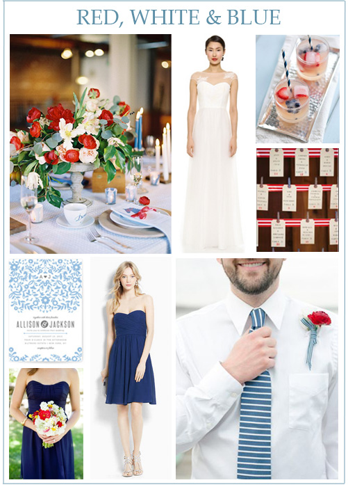 Image credits:  Centerpiece from Flower Muse  by  Michael Radford ,  Love, Yu wedding gown ,  patriotic cocktails ,  striped escort cards  from  Christina McNeill ,  invitation from Minted ,  playful bouquet  by  Laura Ivanova ,  Ann Taylor bridesmaid dress ,  groom inspiration  from  Will & Stacey .