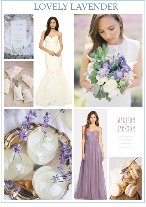 Image credits:  Place setting from Anchor Point Press  by  Joy Michelle Photography ,  lavender toss  from  KT Merry ,  Theia wedding gown ,  lavender bouquet from Finch & Thistle  by  Bryce Covey  via  Once Wed ,  lavender lemonade ,  Jenny Yoo bridesmaid dress ,  Minted wedding invitation ,  honey lavender macaroons .