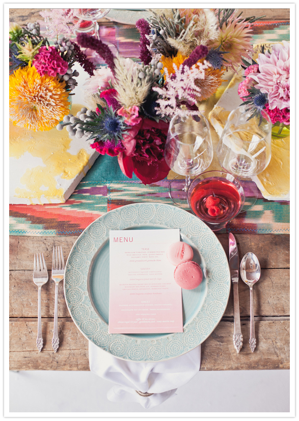 Boho place setting by from  OneLove Photography  via  100 Layer Cake
