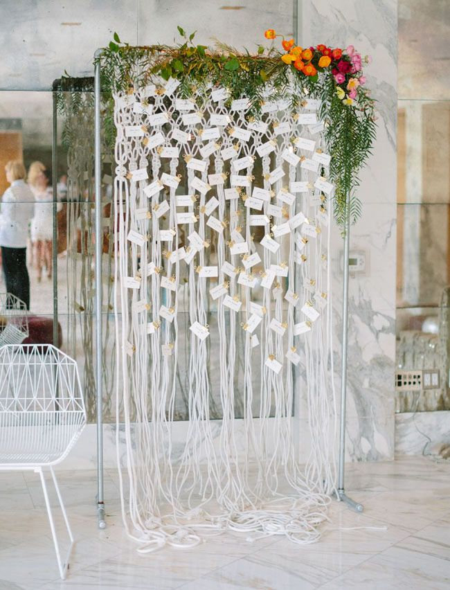 Macrame escort cards by  Enjoy Events  via  Green Wedding Shoes