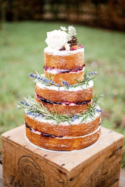 Naked wedding cake via  Style Me Pretty