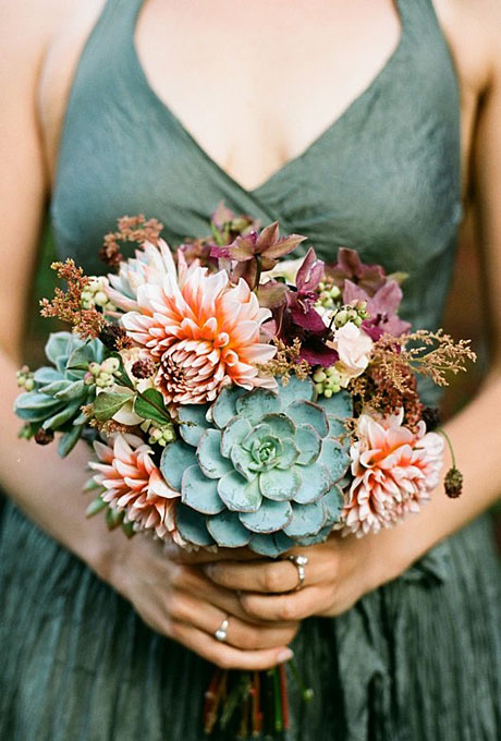 Bouquet from  The Cutting Edge Garden  photographed by  Sylvie Gill Photography  via  Brides Magazine