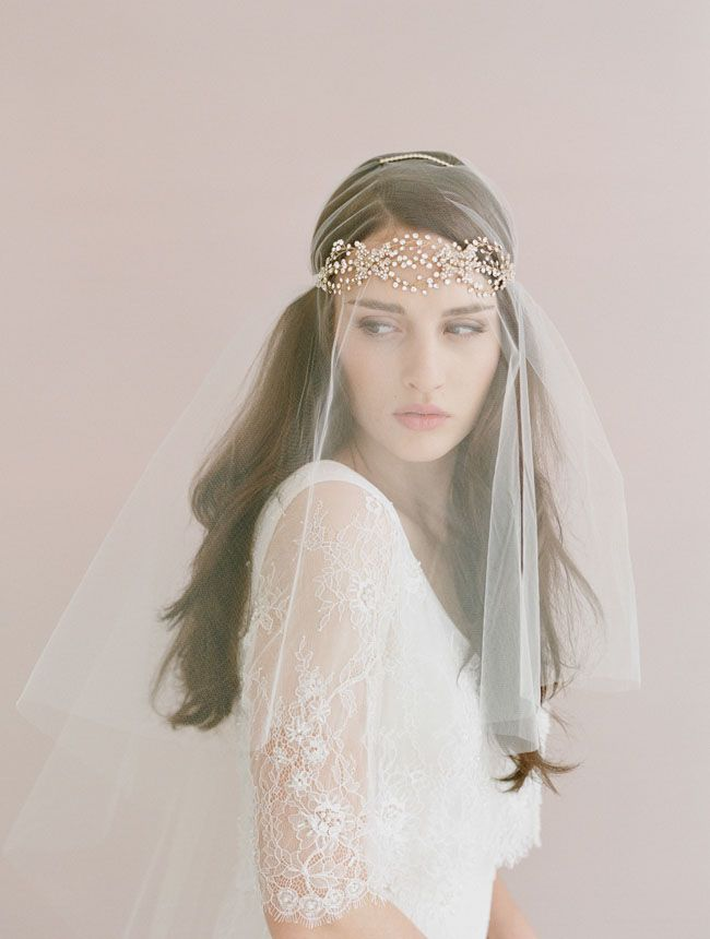 Twigs & Honey hairpiece and vei l by  Elizabeth Messina  via  Green Wedding Shoes