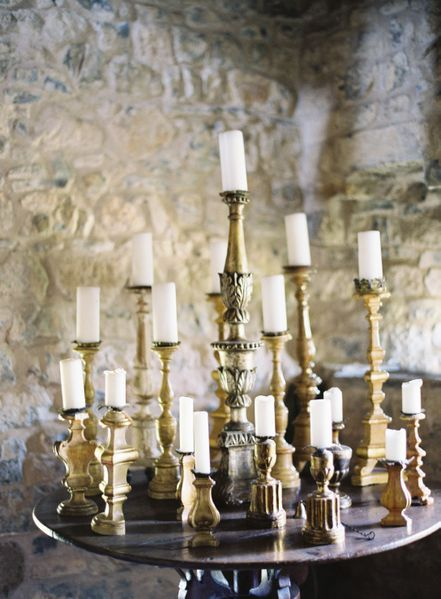 Gold candlesticks by  Jose Villa  via  Once Wed