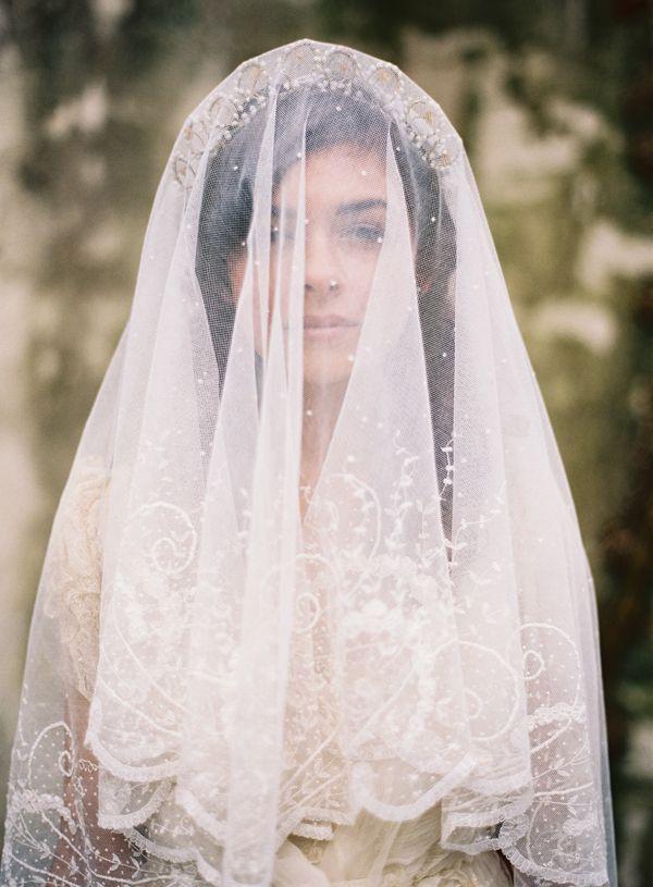 Vintage veil from  Joy Thigpen  via  Once Wed