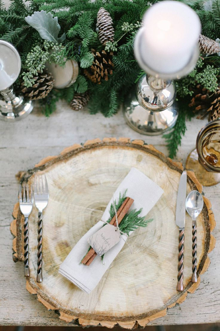 Rustic winter place setting