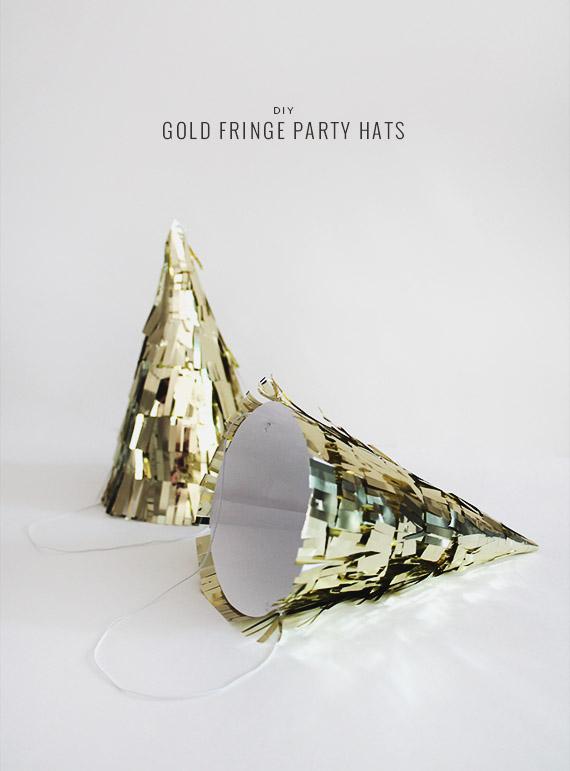 DIY Gold Fringe Party Hats