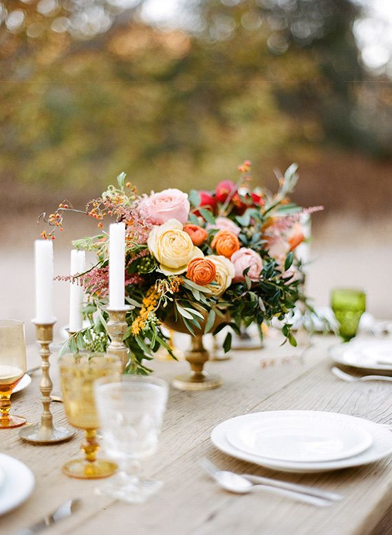 Modern Bouquet     centerpiece by  Morgan Lamkin Photography