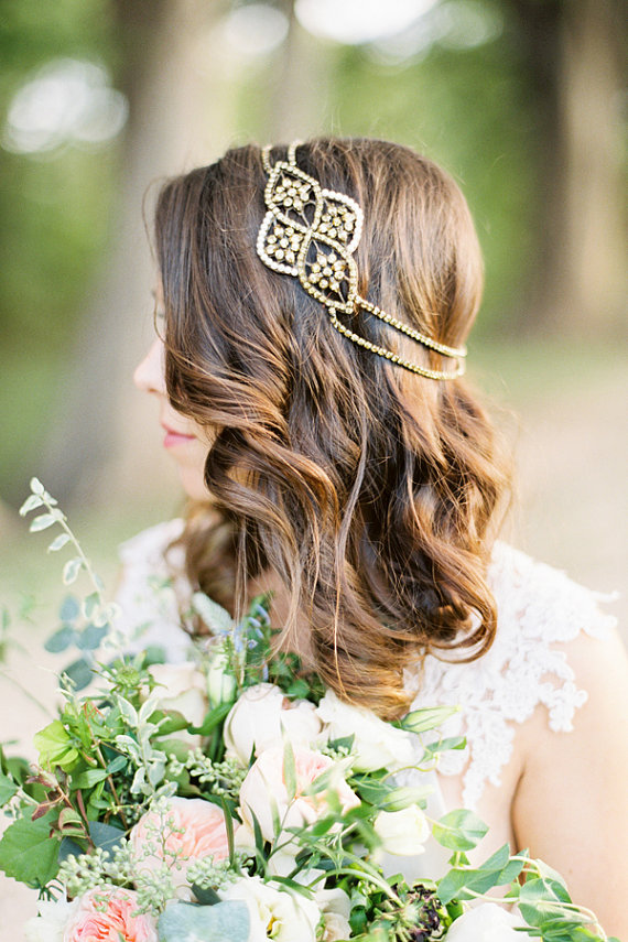 Aleris Bronze Bridal Headpiece by  BrideLaBoheme