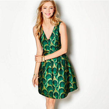 J. Crew Factory Peacock Jacquard Dress