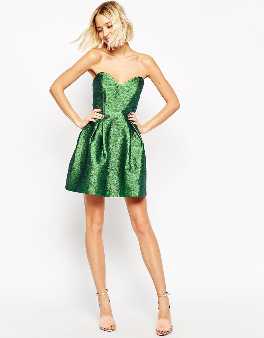 Metallic Bandeau Mini Dress