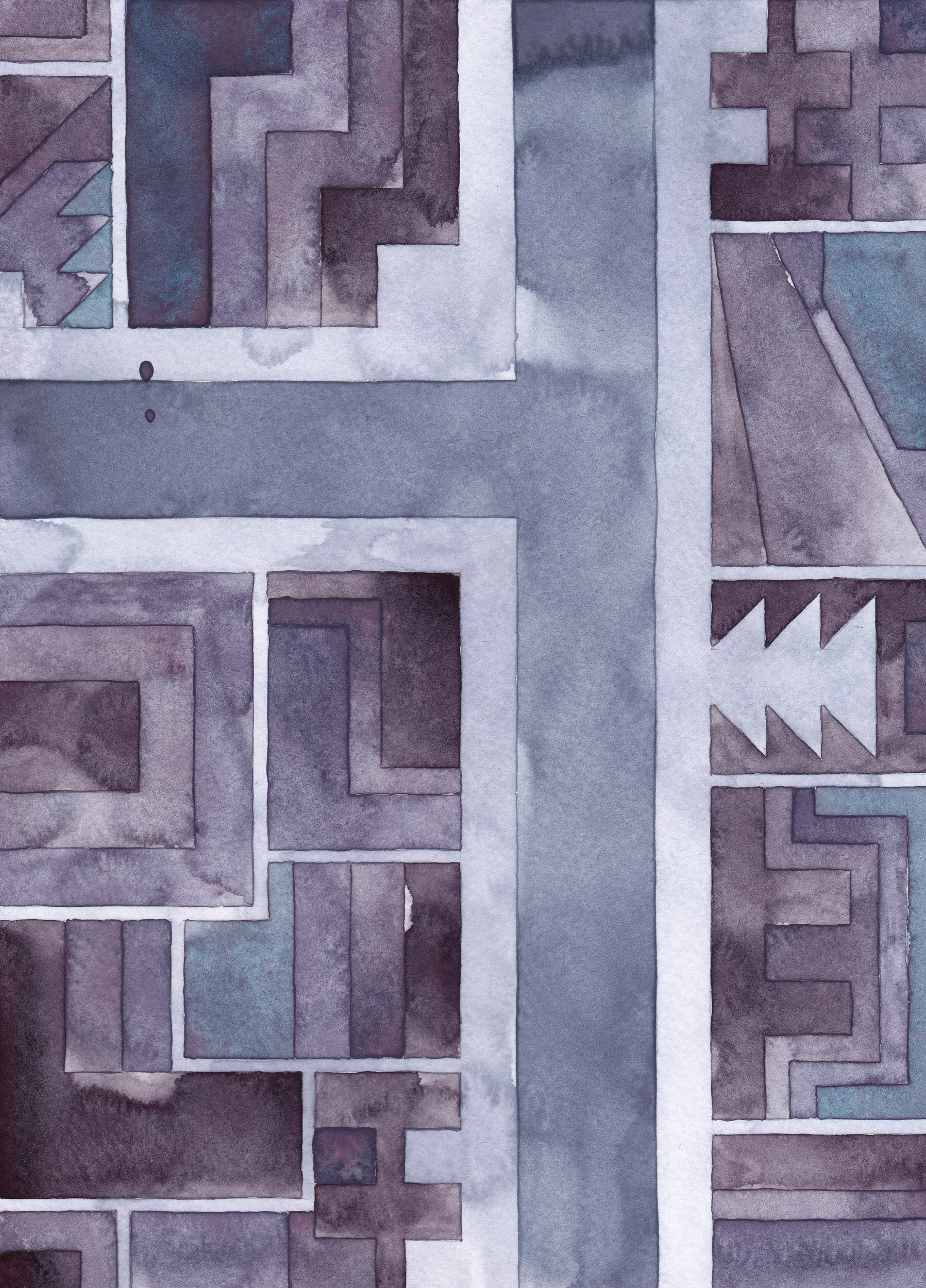 Cityscape 17 , 2014 watercolor on watercolor paper 11 ¾ x 8 ½  inches