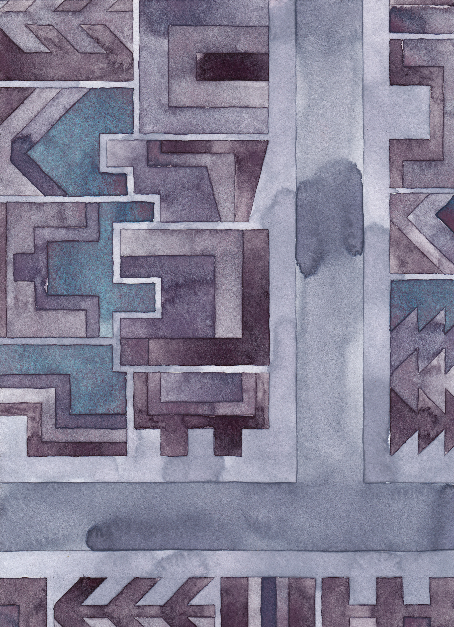 Cityscape 18 , 2014 watercolor on watercolor paper 11 ¾ x 8 ½  inches