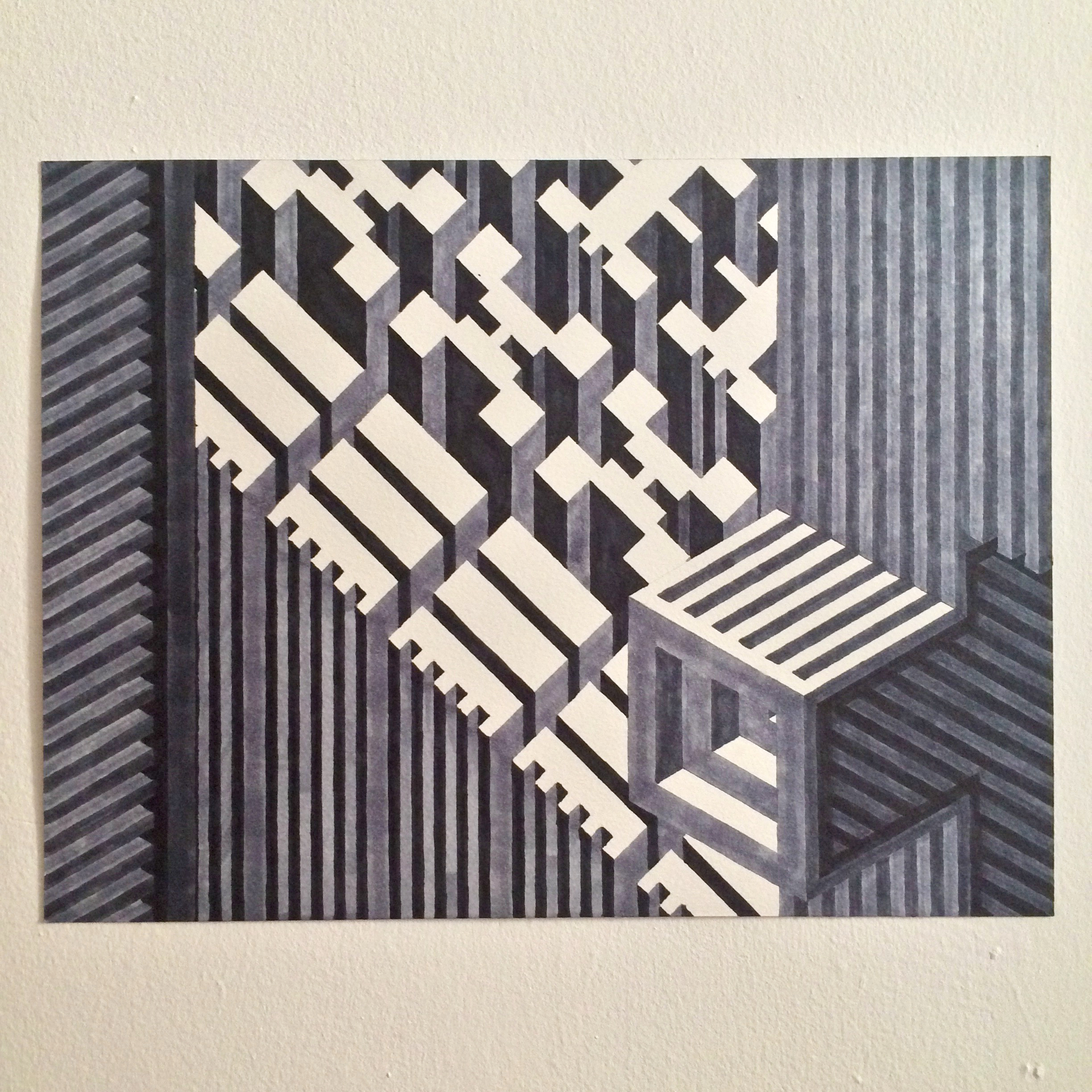 Untitled (immure), 2015  marker graphite on watercolor paper  12 x 16 inches