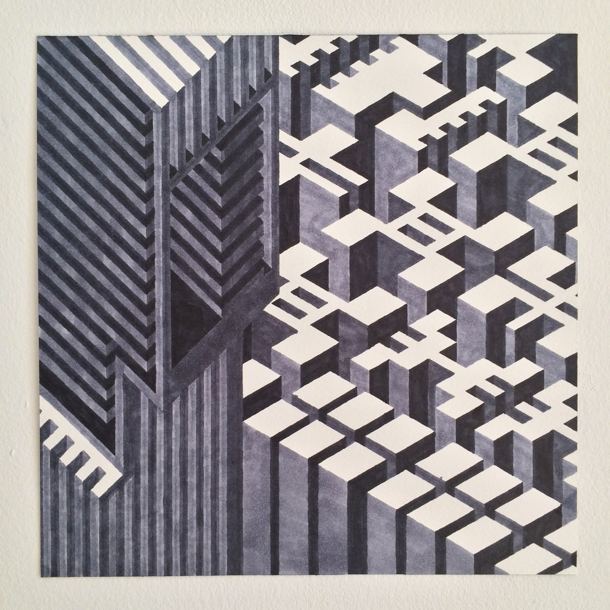 Untitled (aberrant), 2015  marker graphite on watercolor paper  12 x 12 inches