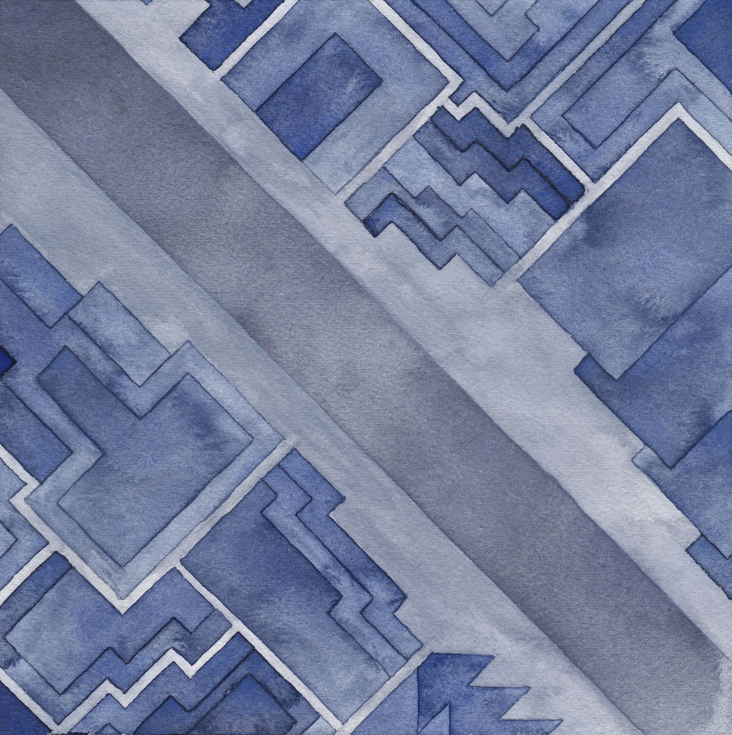 Cityscape (4Levels),  2014  watercolor on watercolor paper  8 x 8 inches