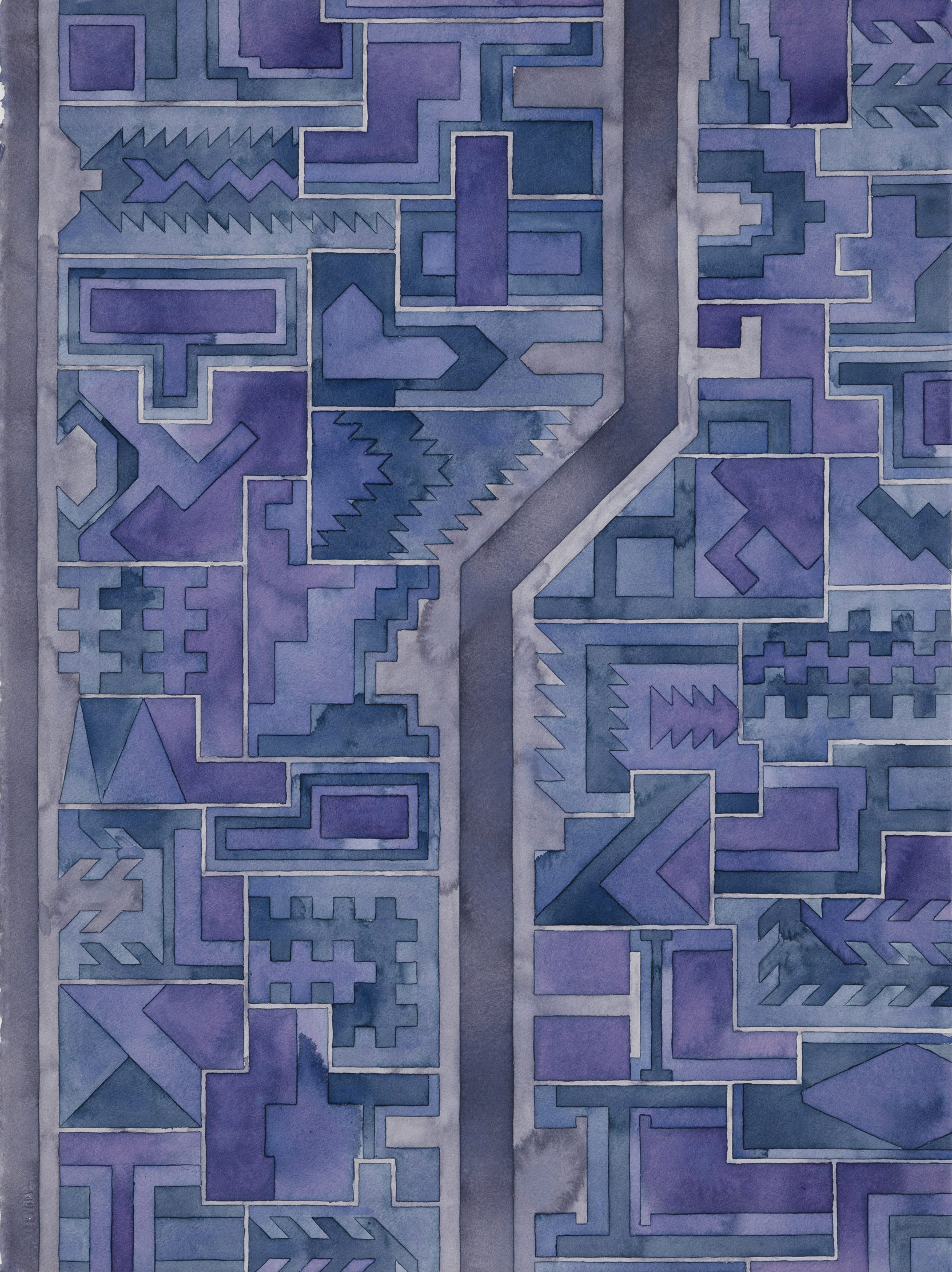 Cityscape 32 , 2014  watercolor on watercolor paper  30 x 22 inches