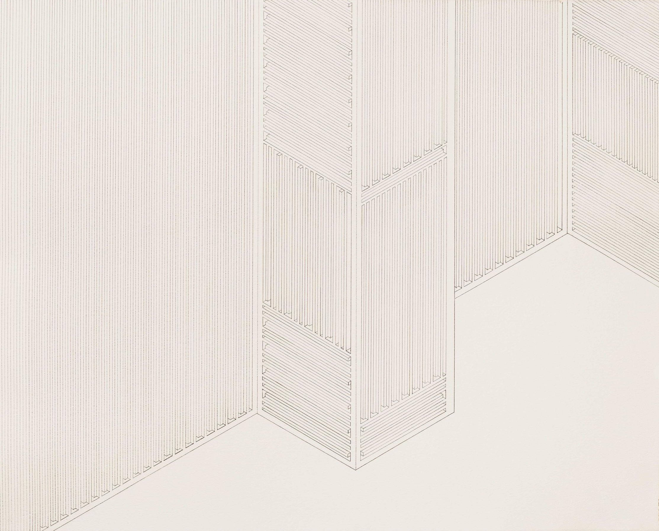 Structure 1, 2013  graphite on watercolor paper  22.5 x 28 inches