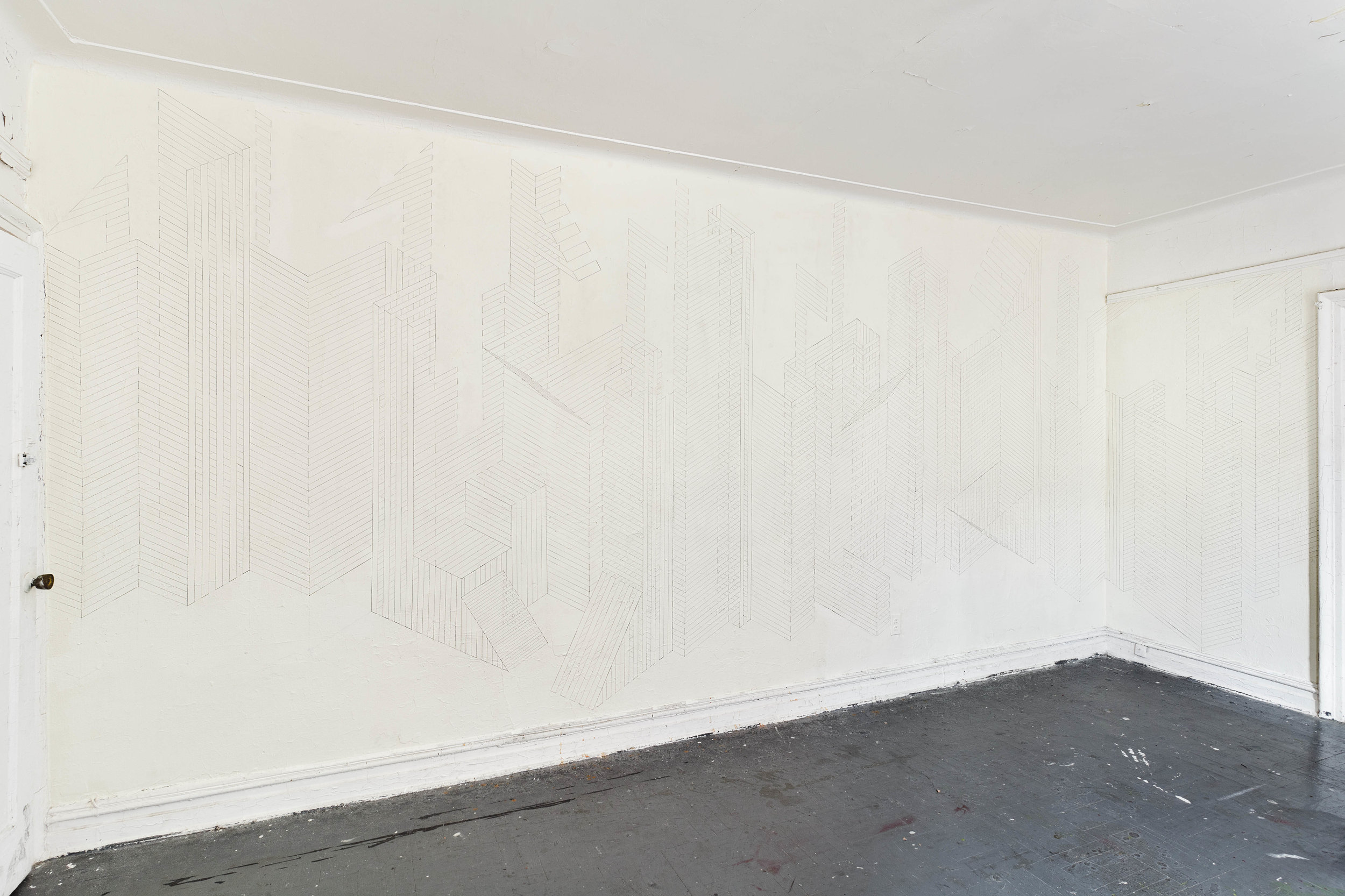 Construction Wall Drawing 2, 2012  graphite acrylic on wall  8 x 18 ft (large wall), 4.5 x 6 ft. (short wall)