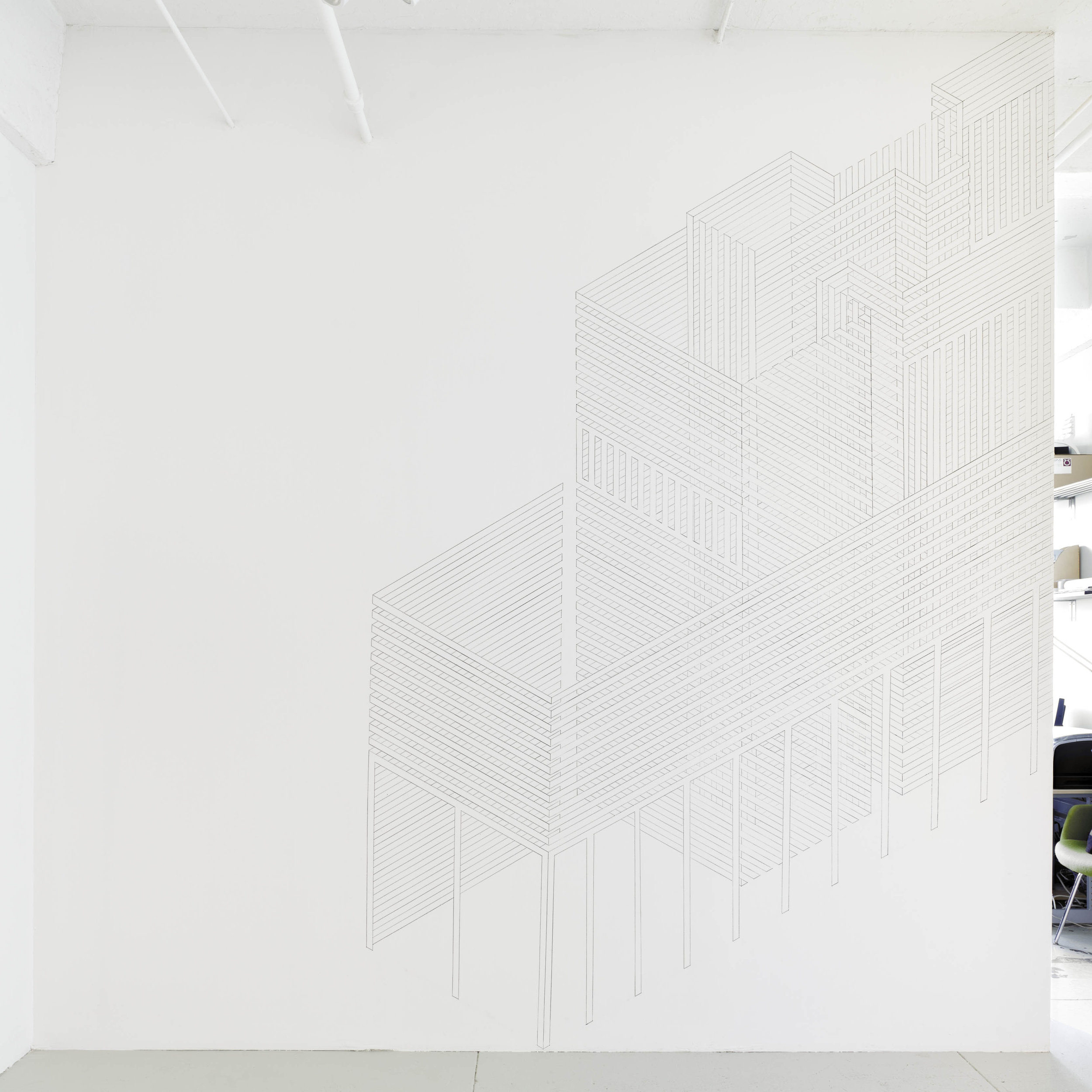 Construction Wall Drawing 3, 2012  graphite on wall  12 x 12 feet