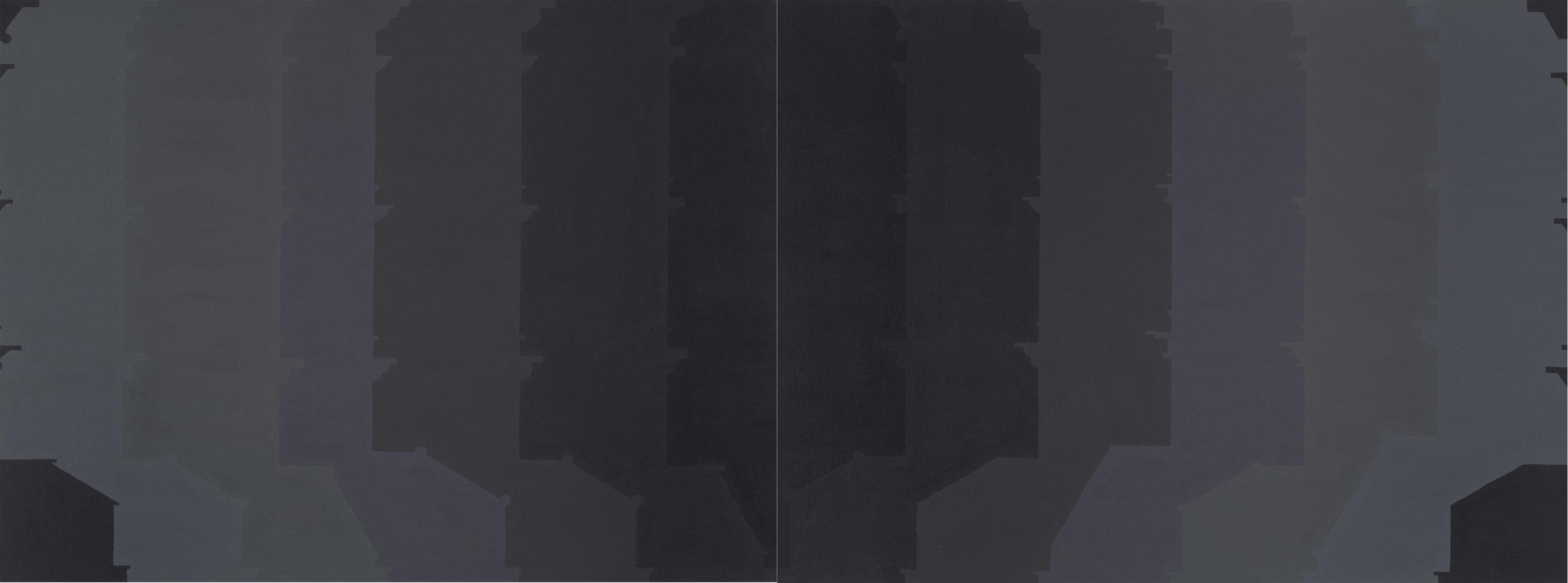 Façades 13, 2012  acrylic on canvas  36 x 96 inches