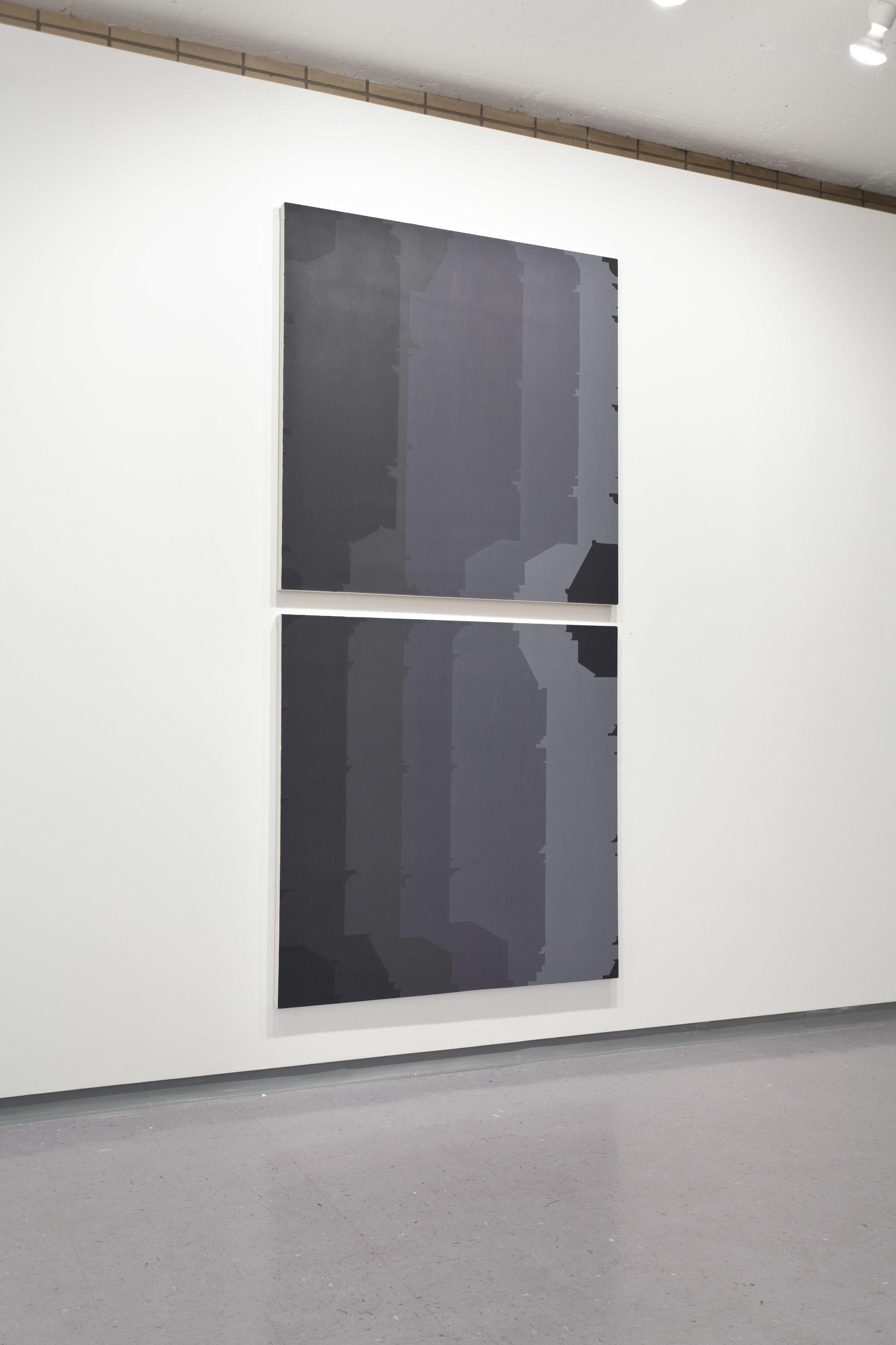 Façades 15, 2012  acrylic on canvas  99 x 48 inches (each canvas 48 x 48in.)