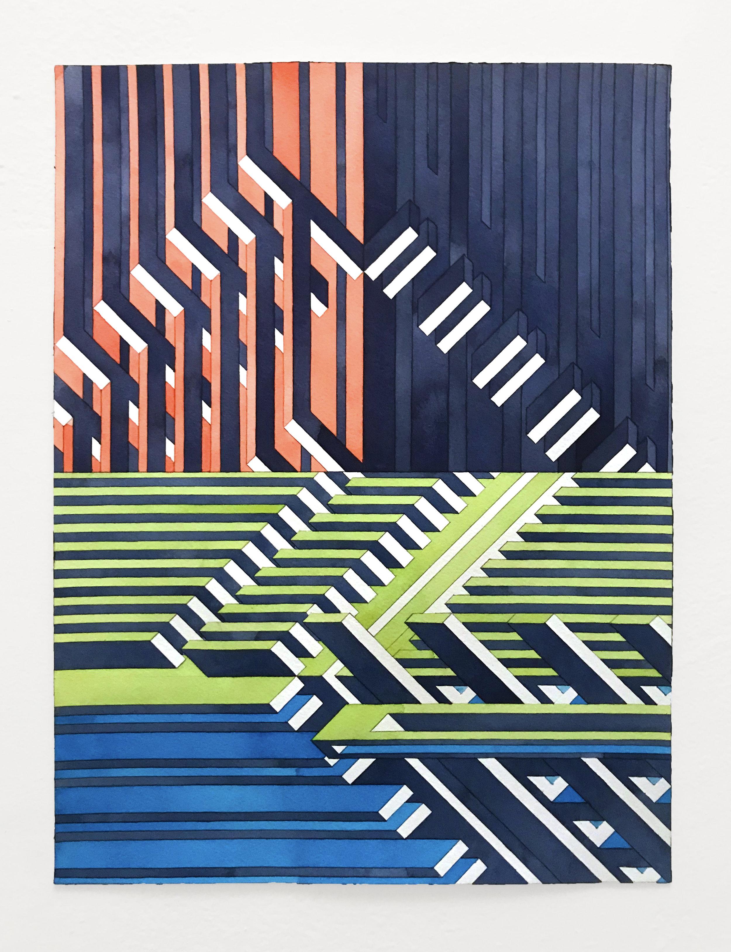 Facility 2, 2019  watercolor graphite on watercolor paper  16 x 12 inches