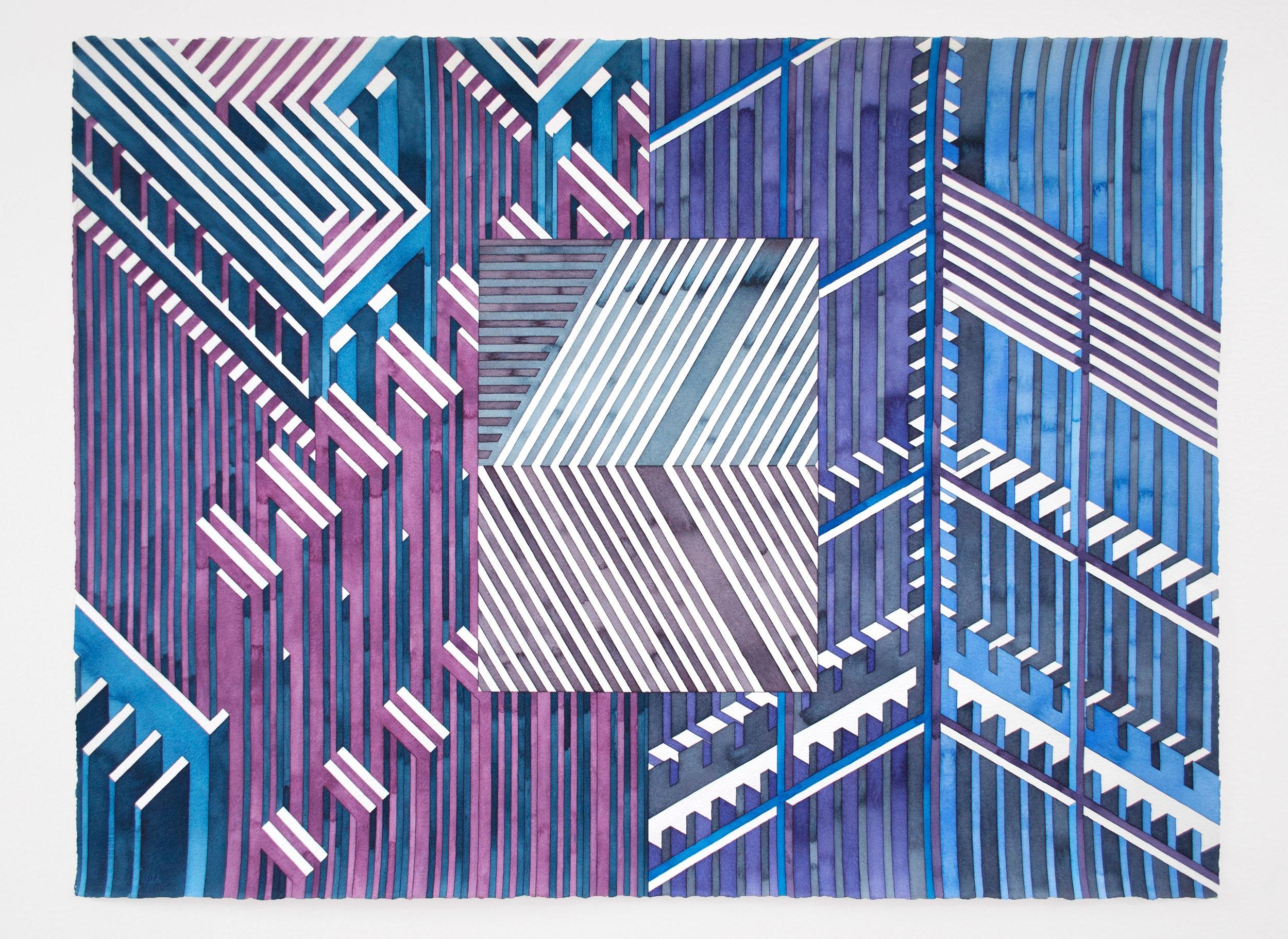 Facility 9, 2019 | watercolor graphite on watercolor paper | 22 x 30 inches