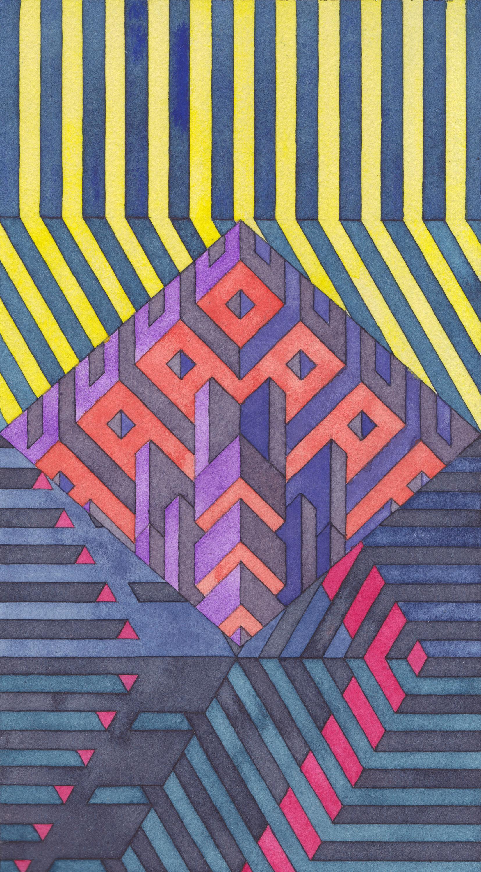 Facility 14, 2019  watercolor graphite on watercolor paper  10 1/4 x 5 5/8 inches