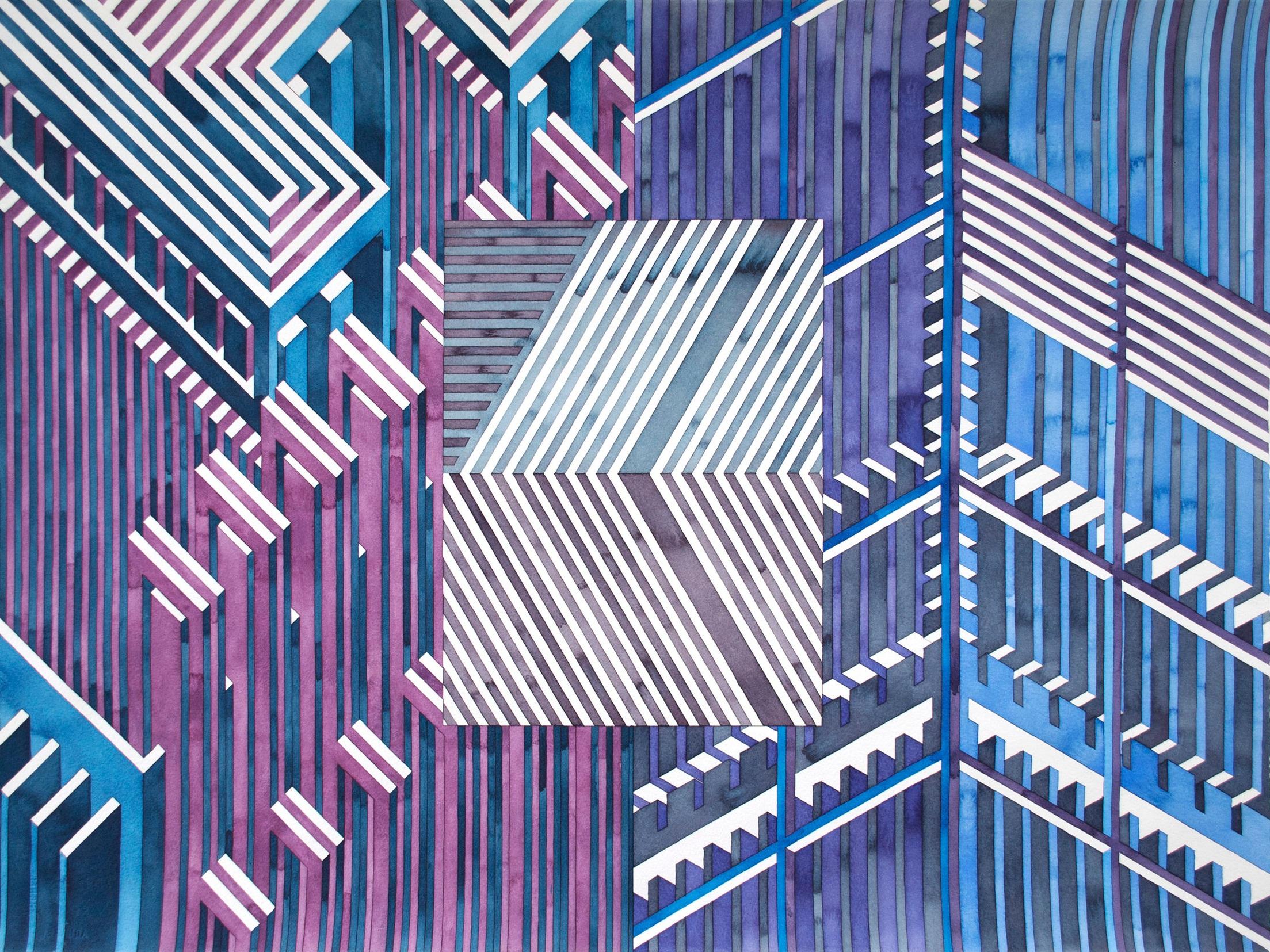Facility 9, 2019  watercolor graphite on watercolor paper  22 x 30 inches
