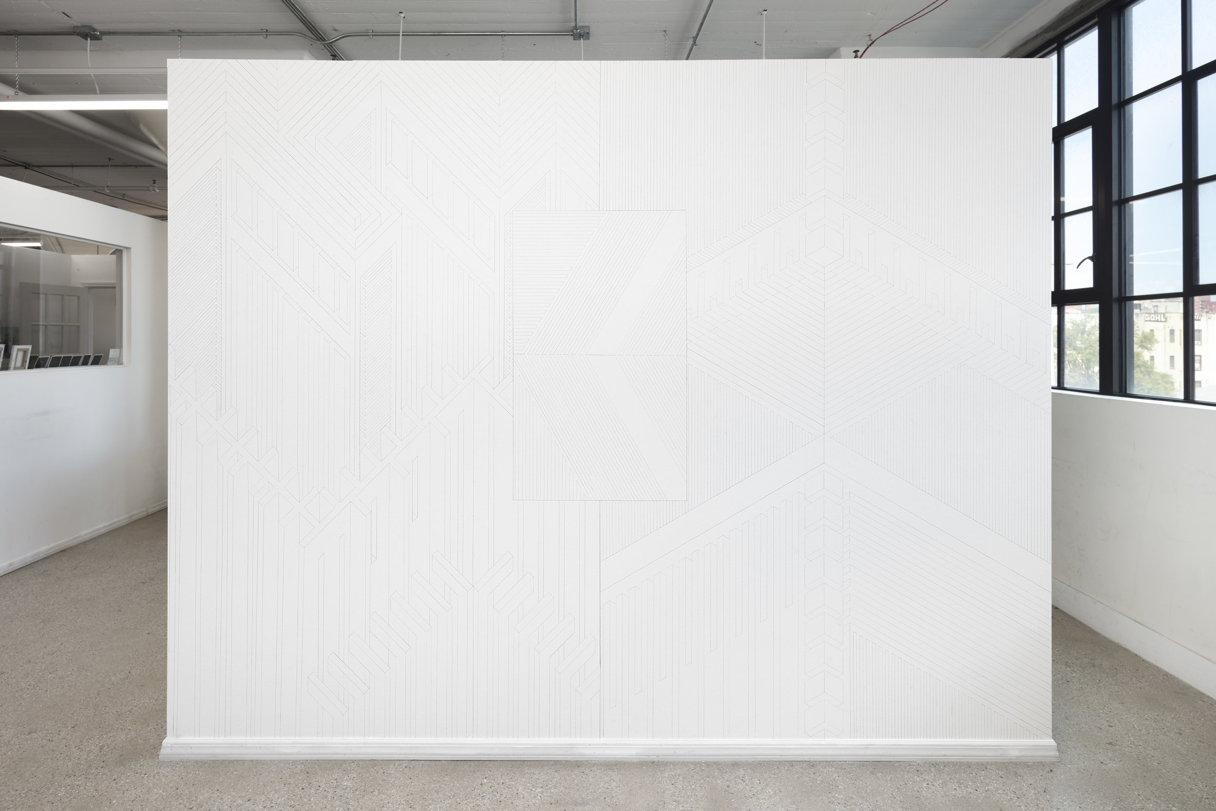 Facility 10, 2019  graphite on wall  8 x 10 feet