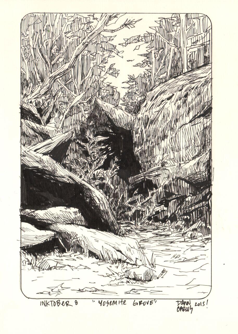 """Yosemite Grove"" Ink on Moleskine Paper"