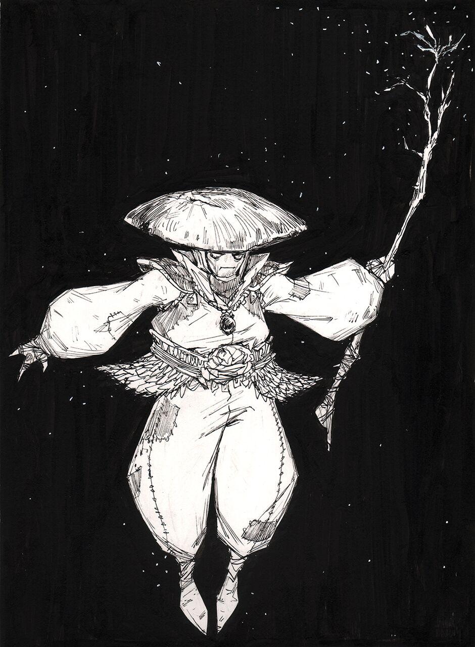 """""""Mushroom Mage"""" Ink on Bristol"""
