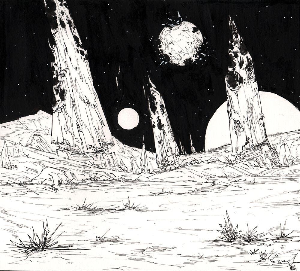 """""""Florian Landscape Attack"""" Ink on Bristol Paper"""