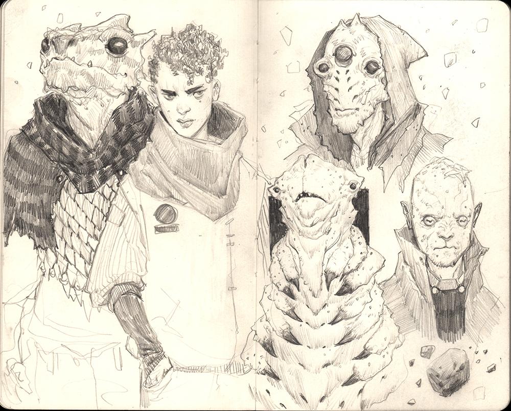 """Space Crew & The Merchants"" Graphite on Moleskine Sketchbook"