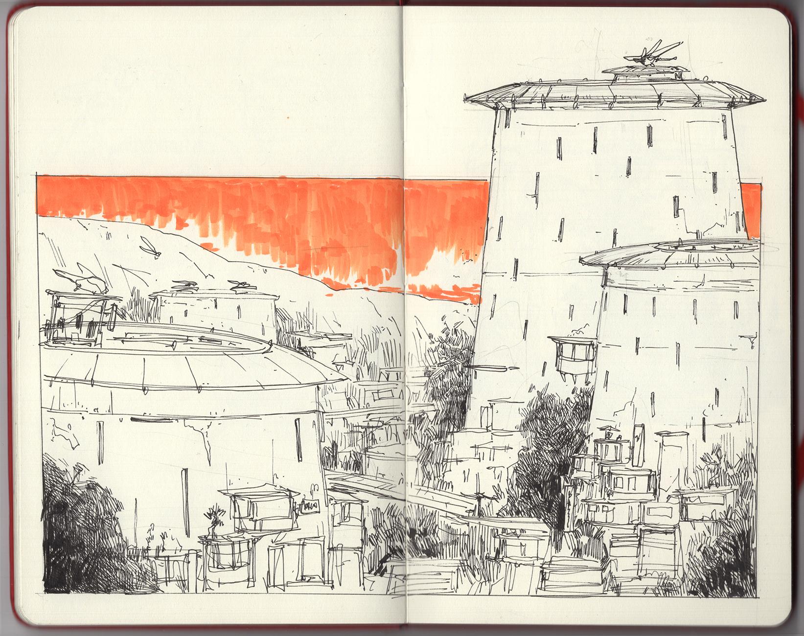 """""""Home Base"""" Ink & Marker on Moleskine Sketchbook"""