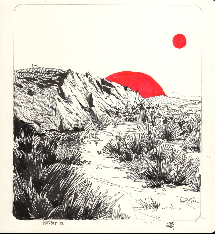 """Bodie Twin Sunset"" Ink on Moleskine Paper"