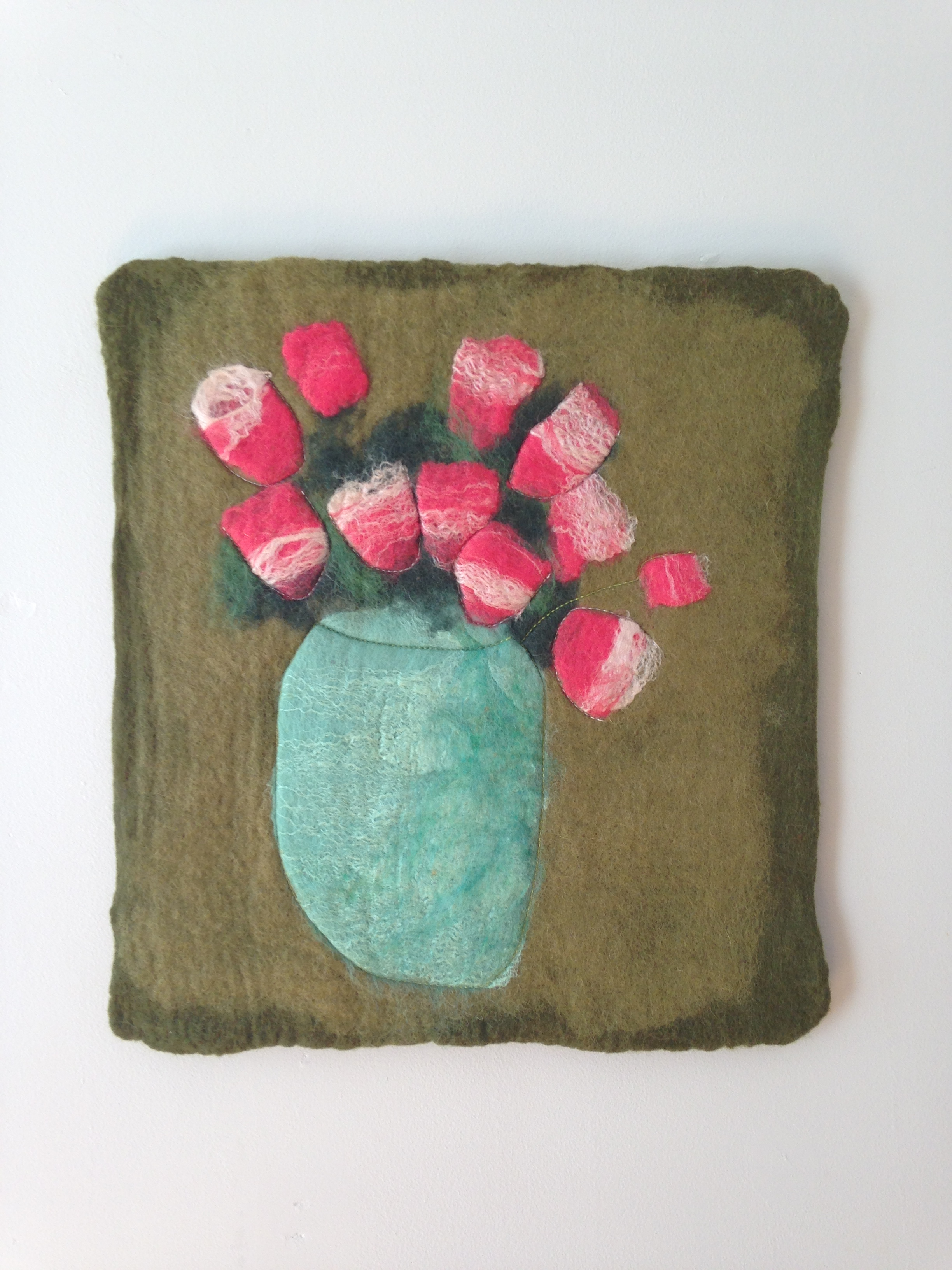 """""""Red Tulips on Olive""""  (pic 2 of 2)"""
