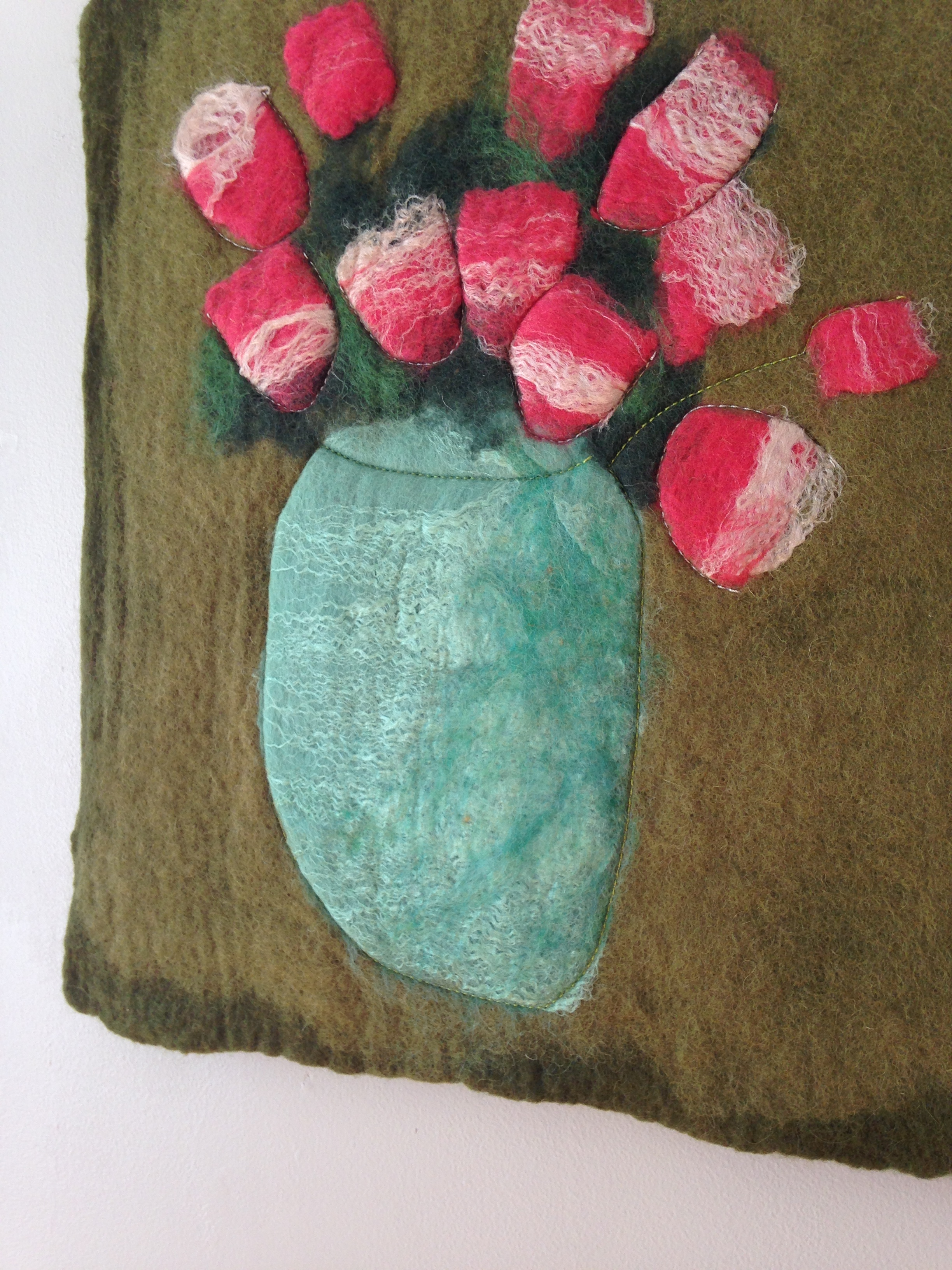 """""""Red Tulips on Olive""""  (pic 1 of 2)"""