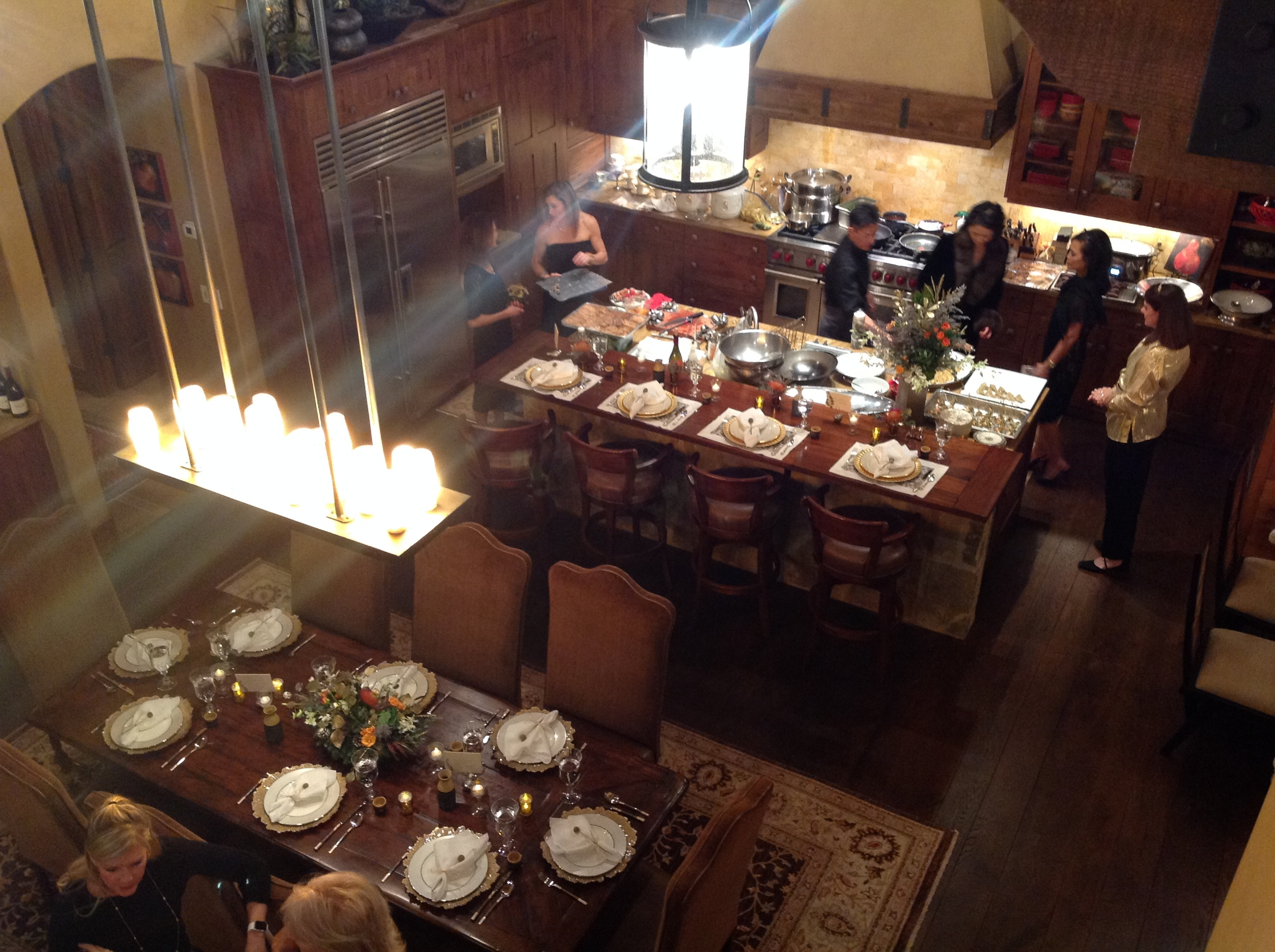 An overview of the dining room and kitchen table settings.