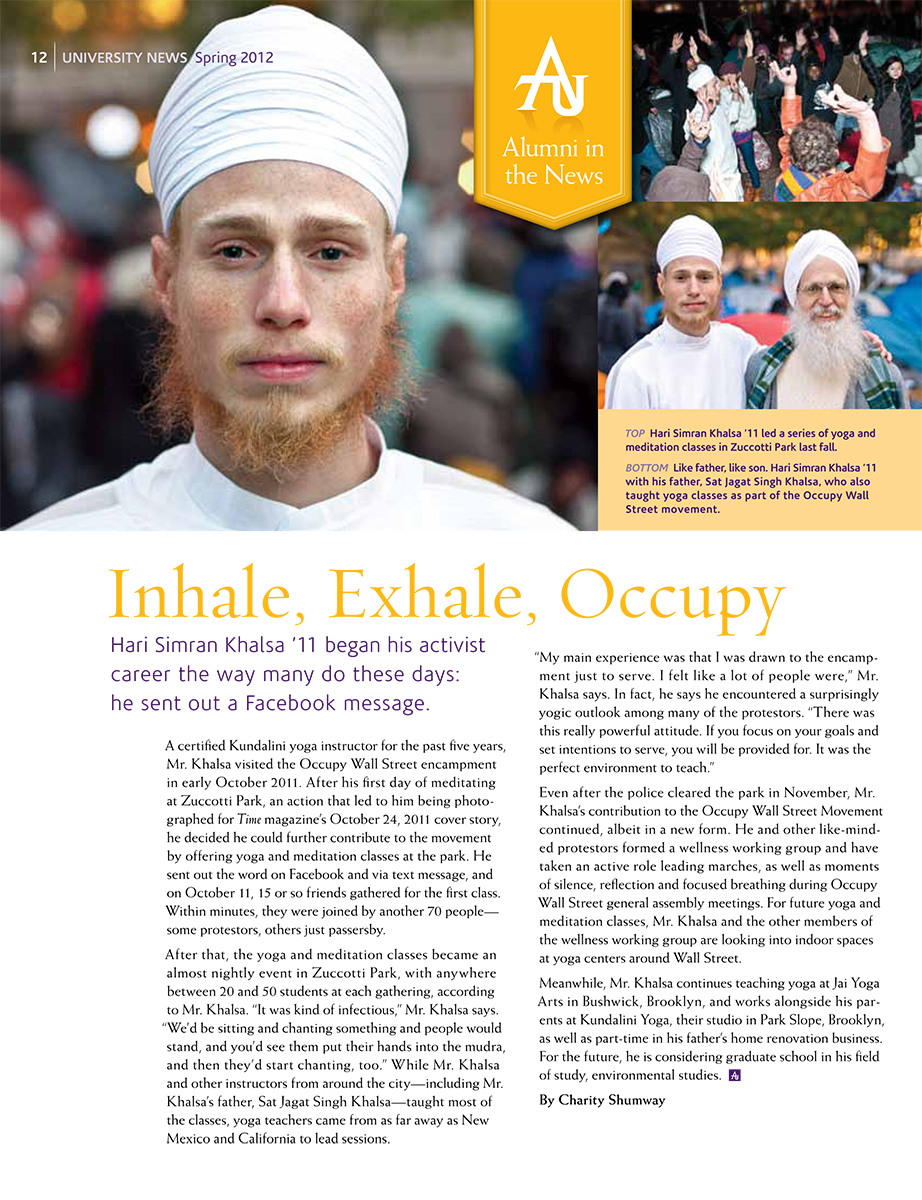 Adelphi University alumnus Hari Khalsa at Occupy Wall Street, 2012.