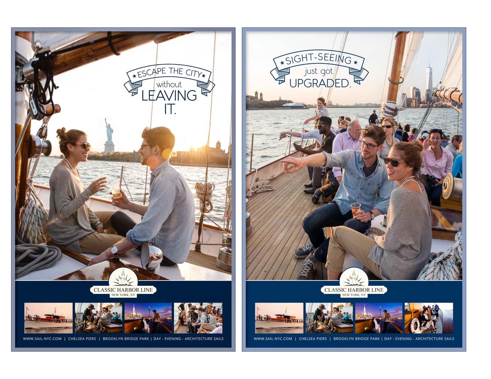 Advertising campaign for Classic Harbor sailboat cruises, in bus shelters, phone booths, and subways in NYC area.
