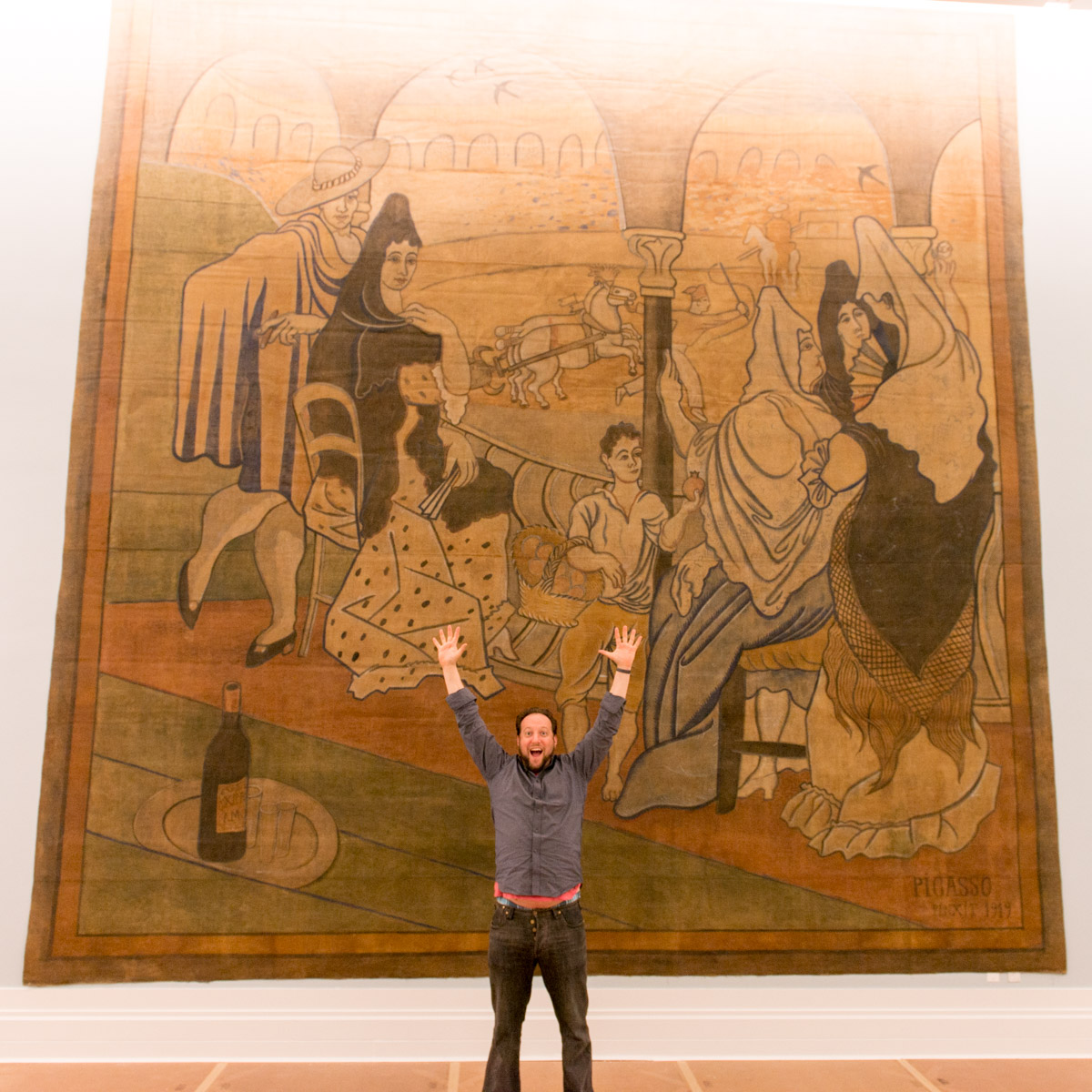 Jason gardner in front of the Le Tricorne curtain by picasso