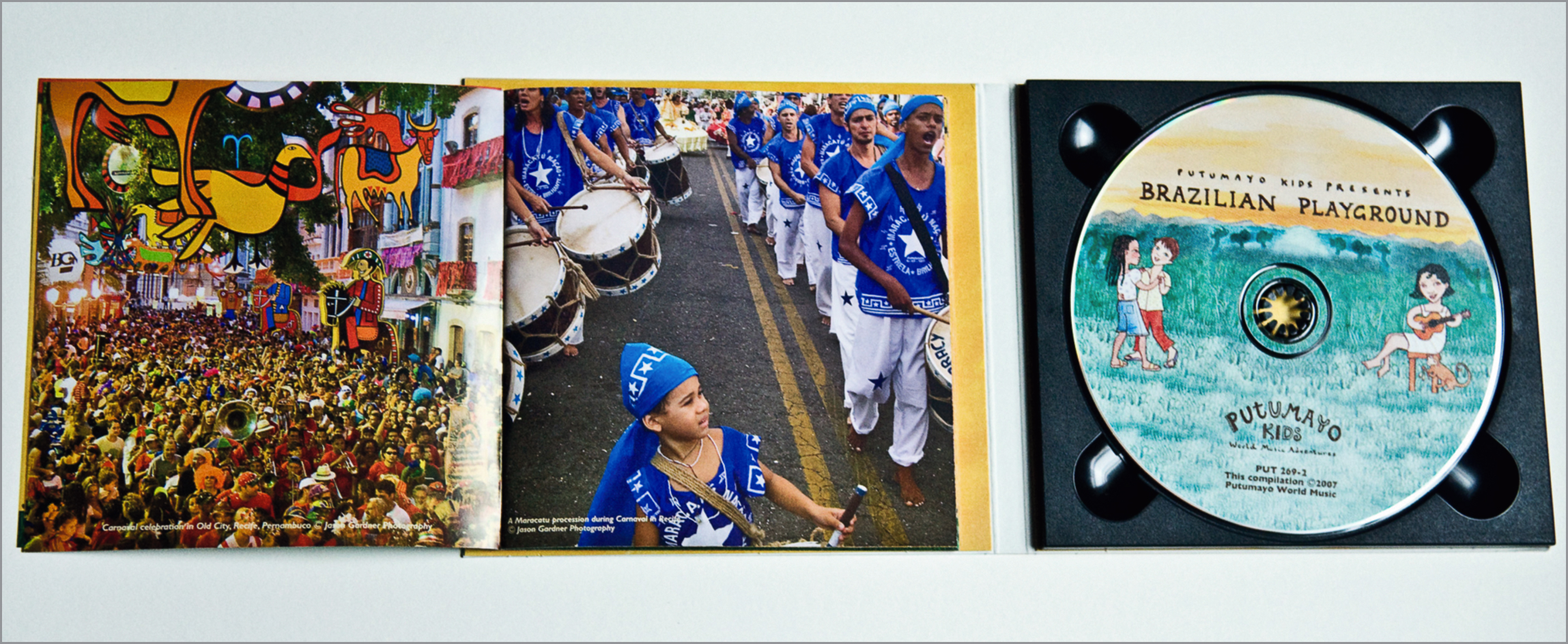 Images published on the inside of the notes for the compilation of Brazilian children's music for Putumayo Records.
