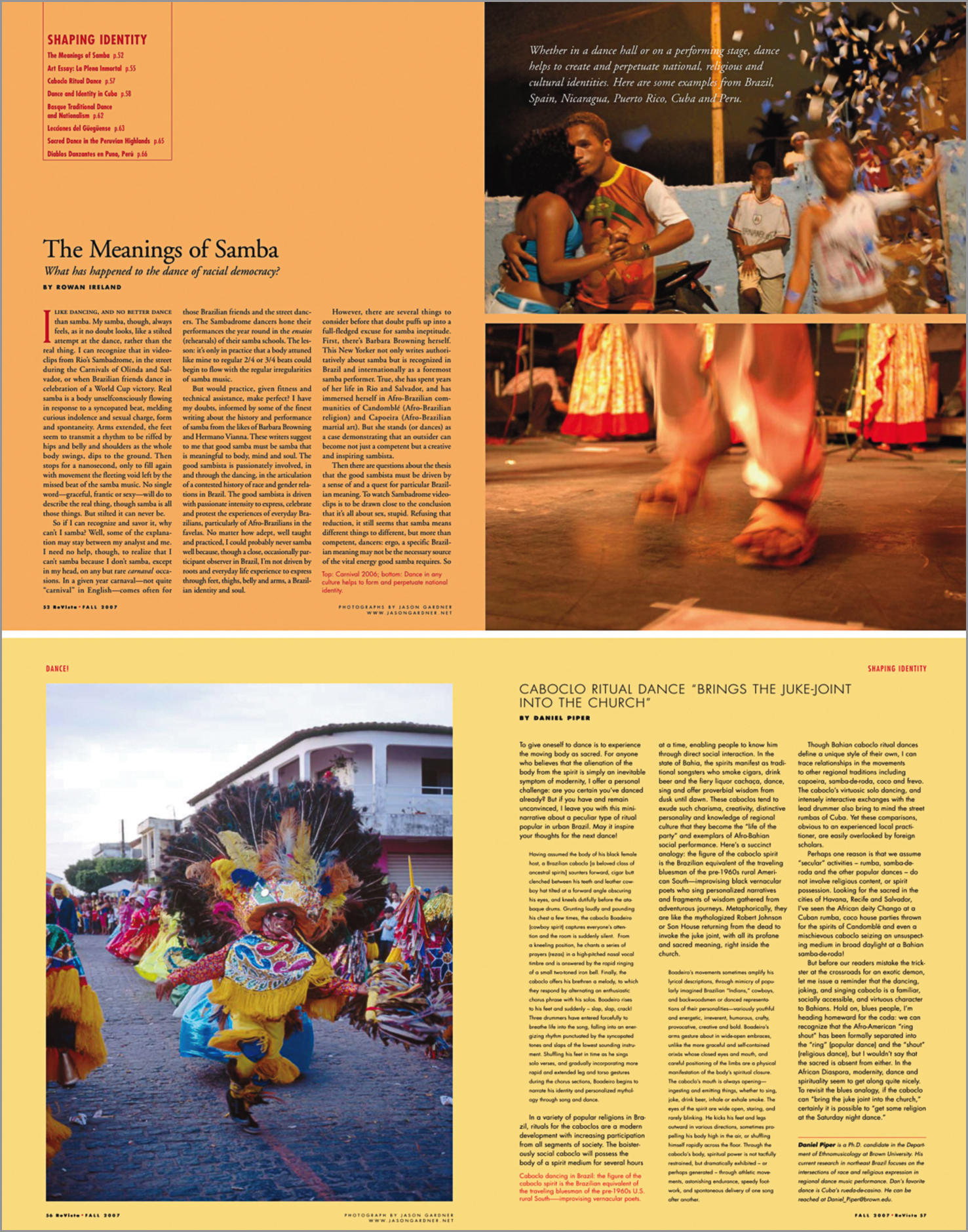 Images in articles about samba and caboclos in  Harvard University Magazine .