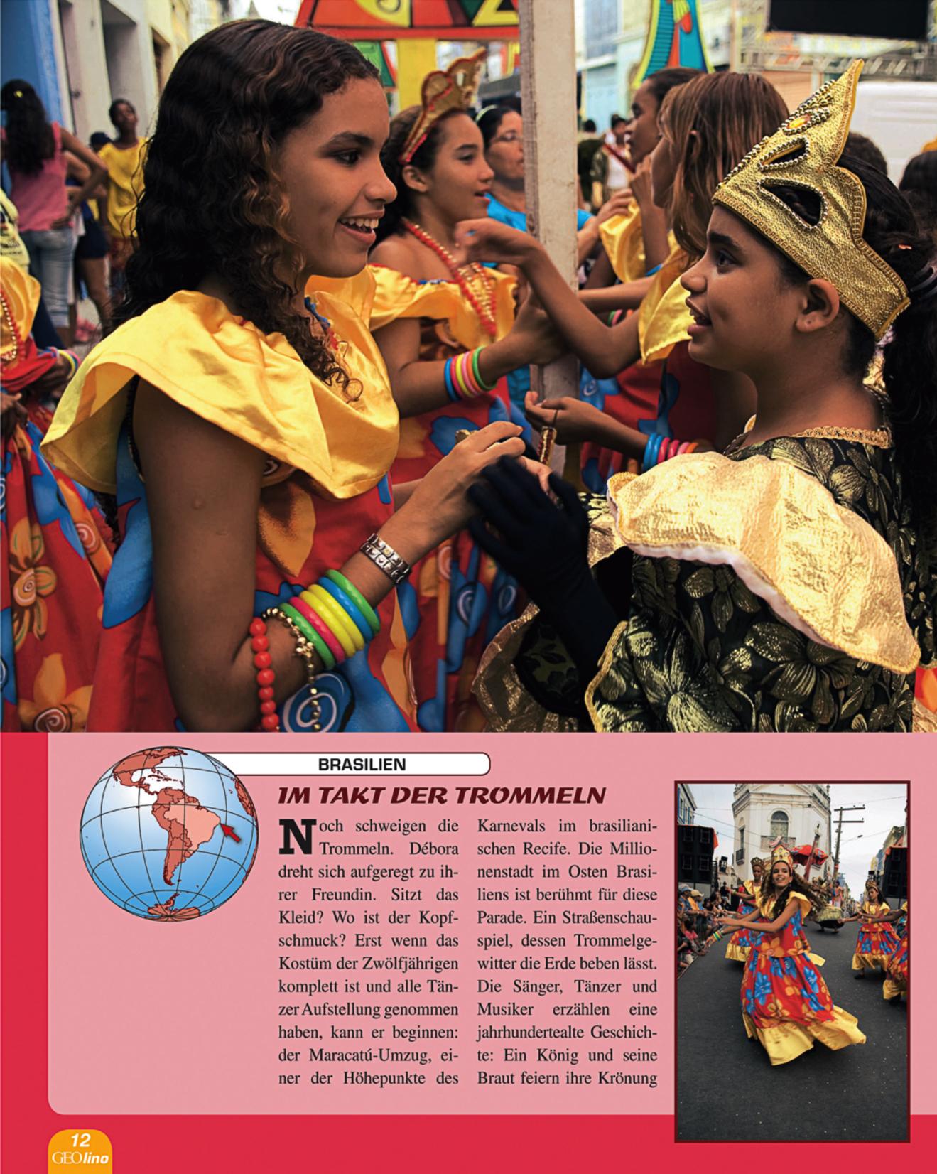 Imagines from Carnaval in Recife in German children's magazine  GEO Lino.
